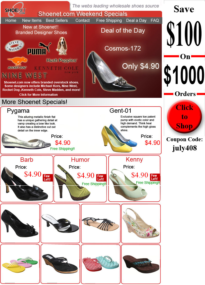 1fde771b5fc Shoenet.com Weekend Special 7-4-08 « Wholesale Shoes Blog – Shoenet.com